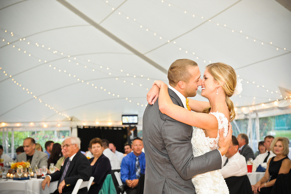 A bride and groom's first dance at the Dexter Inn, Sunapee, NH.