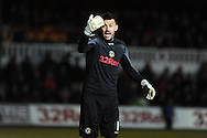 Newport county goalkeeper Lenny Pidgeley in action. Skybet football league two match, Newport county v Hartlepool Utd at Rodney Parade in Newport , South Wales on Friday 15th November 2013. pic by Andrew Orchard, Andrew Orchard sports photography,