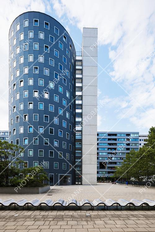 Circle building in modern area in Wien