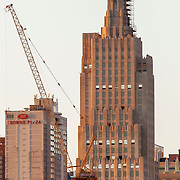 Vertical photo of historic art-deco skyscraper Power and Light Building, under renovation and conversion to residential use as Power and Light Apartments. Downtown Kansas City, Missouri.