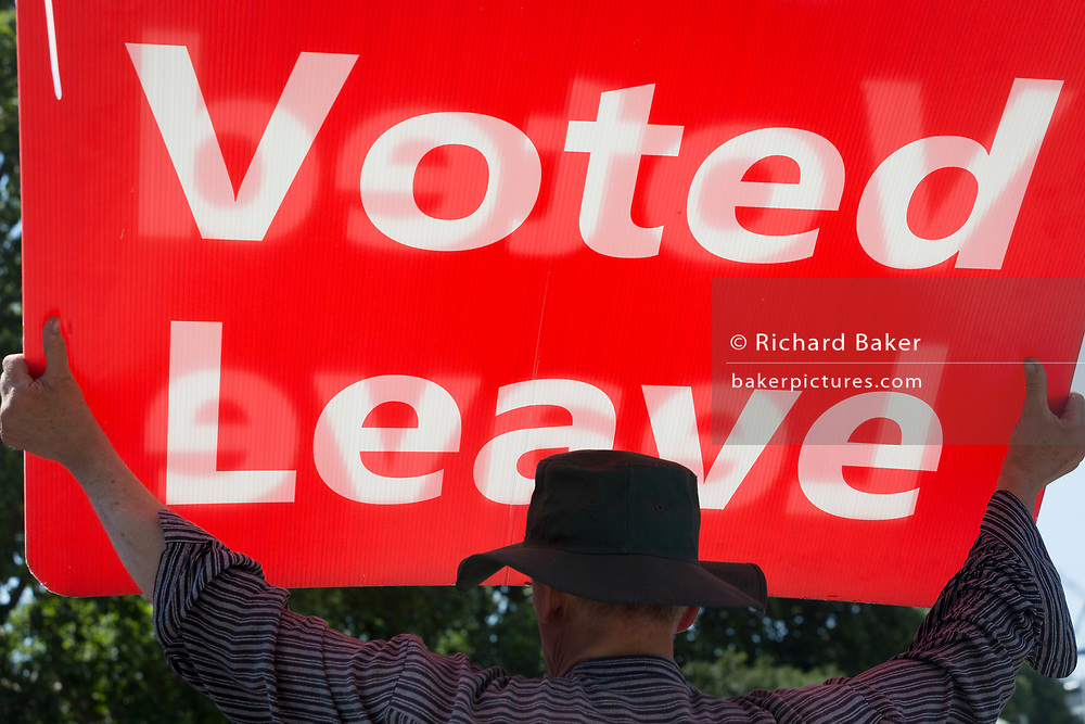 On the day that the Conservative Party elects its leader and the country's Prime Minister, Boris Johnson, Brexiteers show their support on College Green after the result, on 23rd July 2019, in Westminster, London, England.