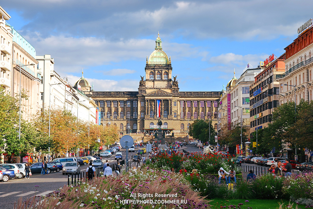 National museum on Vaclav (Wenceslas) Square in Prague, Czech Republic.