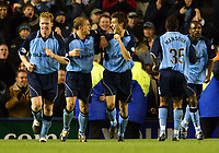 Photograph: Scott Heavey.<br />Coventry v West Bromwich Albion. Nationwide Division One. 20/12/2003.<br />Johnnie Jackson celebrates with his team-mates after scoring the winning goal