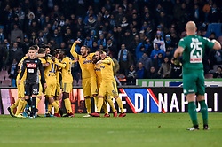 December 1, 2017 - Naples, Italy - Players of Juventus celebrate the victory during the Serie A match between Napoli and Juventus at San Paolo Stadium, Naples, Italy on 1 December 2017. (Credit Image: © Giuseppe Maffia/NurPhoto via ZUMA Press)