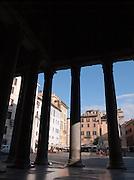 Columns at the entrance to the Patheon at Piazza della Rotonda, Rome, Italy