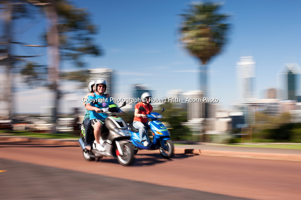 Tourists on scooters in Kings Park