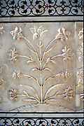 Marble carving of formalised lily, Taj Mahal, Agra, India, 17th century.
