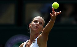Karolina Pliskova serves on day three of the Wimbledon Championships at the All England Lawn Tennis and Croquet Club, Wimbledon.