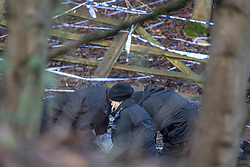 "© Licensed to London News Pictures. 11/12/2019. Gerrards Cross, UK. Police conduct a fingertip search on ground marked out by police tape in a grid formation in Gerrards Cross, Buckinghamshire as the Metropolitan Police Service continue to search woodland. Police have been in the area conducting operations since Thursday 5th December 2019. In a press statement issued on 7th December, a Metropolitan Police spokesperson said ""Officers are currently in the Gerrards Cross area of Buckinghamshire as part of an ongoing investigation.<br /> ""We are not prepared to discuss further for operational reasons."" Photo credit: Peter Manning/LNP"