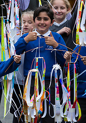 """Over 300 children from primary schools across Edinburgh are taking part in lantern making workshops this October, as part of the activities leading up to Diwali, the annual Festival of Light celebrated by Hindus, Jains and Sikhs throughout the world.<br /> <br /> The workshops, for P6 and 7 pupils, are being led by Leith-based artists, Vision Mechanics. The lanterns will be designed as """"flowers of light"""", and constructed using special waterproof paper to withstand the Scottish weather.<br /> <br /> Pictured: Pupils from P6 of St Mary's RC Primary School"""