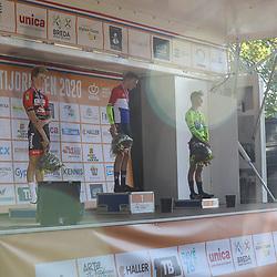 13-09-2020: Wielrennen: NK tijdrijden: Chaam <br />Podium NK tijdrijden Lou van Belle, Tibor del Grosso en Mathijs Kok