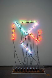 Light sculpture by Bruce Nauman titled American Violence at Hamburger Bahnhof Museum of Contemporary Art in Berlin Germany