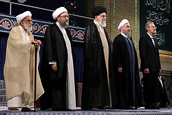 Handout photo - (L to R) Parliament Speaker Ali Larijani, Iranian President Hasan Rouhani, supreme leader Ayatollah Ali Khamenei, Judiciary Chief Sadeq Larijani and Iran's head of the Assembly of Experts, Ahmad Jannati stand during the swear in ceremony of Rouhani in Tehran, Iran, on August 3, 2017. Rouhani vowed to continue his efforts to end the country's isolation as he was sworn in by supreme leader Ayatollah Ali Khamenei to serve his second term following his re-election in May. Photo via Parspix/ABACAPRESS.COM