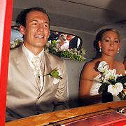 NLD/Groningen/20070609 - Huwelijk Arjen Robben en Bernadien Eillert, bruidspaar..Wedding of the dutch Chelsea soccer player Arjen Robben with his girlfriend Bernadien Eillert along with family and friends