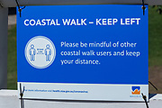 Sydney, Australia.Saturday 18th April 2020. Tamarama Beach in Sydney's eastern suburbs closed due to the Coronavirus Pandemic. From yesterday Tamarama beach was reopened for swimming and surfing. Waverley council coastal walk sign.
