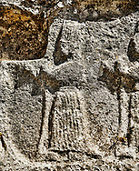 Procession of female Gods in the 13th century BC Hittite religious rock carvings of Yazılıkaya Hittite rock sanctuary, chamber A,  Hattusa, Bogazale, Turkey. .<br /> <br /> If you prefer to buy from our ALAMY PHOTO LIBRARY  Collection visit : https://www.alamy.com/portfolio/paul-williams-funkystock/yazilikaya-hittite-sanctuary-hattusa.html<br /> <br /> Visit our ANCIENT WORLD PHOTO COLLECTIONS for more photos to download or buy as wall art prints https://funkystock.photoshelter.com/gallery-collection/Ancient-World-Art-Antiquities-Historic-Sites-Pictures-Images-of/C00006u26yqSkDOM