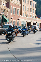 Riding from Deadwood to Sturgis, SD for the reveal of the new Harley-Davidson Road Glide during Sturgis Black Hills Rally. SD, USA. August 1, 2014.  Photography ©2014 Michael Lichter.