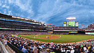[Note:  This panorama was stitched from multiple photos during post-processing] A panoramic view of Target Field during a game between the Minnesota Twins and New York Yankees on August 19, 2011 in Minneapolis, Minnesota.  The Yankees defeated the Twins 8 to 1.