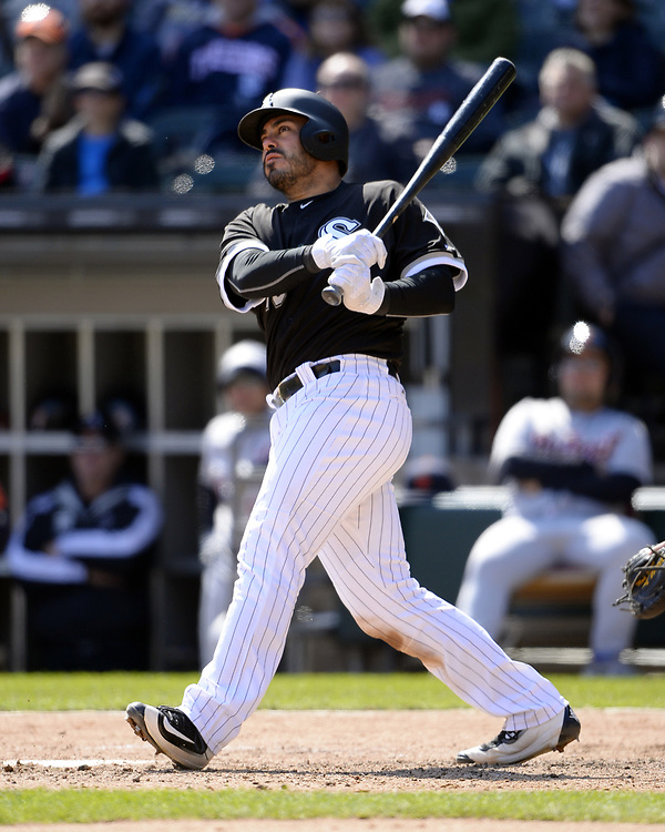 CHICAGO - APRIL 06:  Geovany Soto #10 of the Chicago White Sox hits a home run in the third inning against the Detroit Tigers on April 6, 2017 at Guaranteed Rate Field in Chicago, Illinois.  The White Sox defeated the Tigers 11-2.  (Photo by Ron Vesely)   Subject:  Geovany Soto