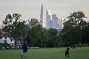 With the Shard and Walkie Talkie buildings and the distant City of London financial district, a dog walker looks over her shoulder while walking her pet in Ruskin Park, on 7th October 2020, in London, England.