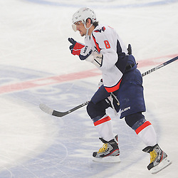 April 30, 2012: Washington Capitals left wing Alex Ovechkin (8) celebrates his power play goal during third period action in Game 2 of the NHL Eastern Conference Semifinals between the Washington Capitals and New York Rangers at Madison Square Garden in New York, N.Y.