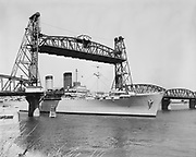 USS General Weiss, largest ship ever to go past Hawthorne Bridge. August 4, 1955