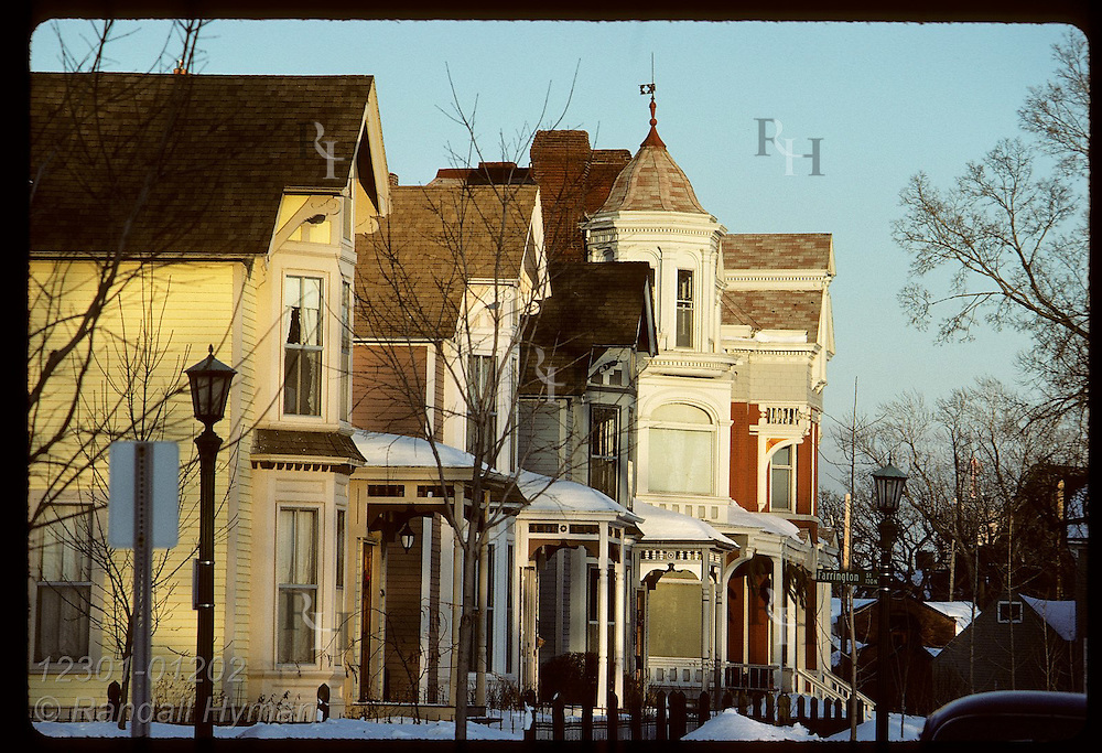 Homes at Farrington and Laurel Streets at sunset in February; St. Paul. Minnesota