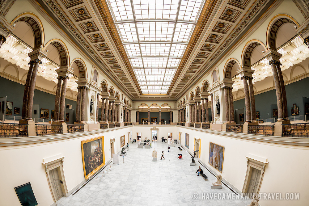 Wide-angle shot of the main hall at the Royal Museums of Fine Arts in Belgium (in French, Musées royaux des Beaux-Arts de Belgique), one of the most famous museums in Belgium. The complex consists of several museums, including Ancient Art Museum (XV - XVII century), the Modern Art Museum (XIX ­ XX century), the Wiertz Museum, the Meunier Museum and the Museé Magritte Museum.