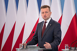 June 28, 2017 - Warsaw, Poland - Polish Minister of the Interior and Administration Mariusz Blaszczak during the press conference about ransomware Petya cyberattack in Poland, at Chancellery of the Prime Minister in Warsaw, Poland on 28 June 2017  (Credit Image: © Mateusz Wlodarczyk/NurPhoto via ZUMA Press)