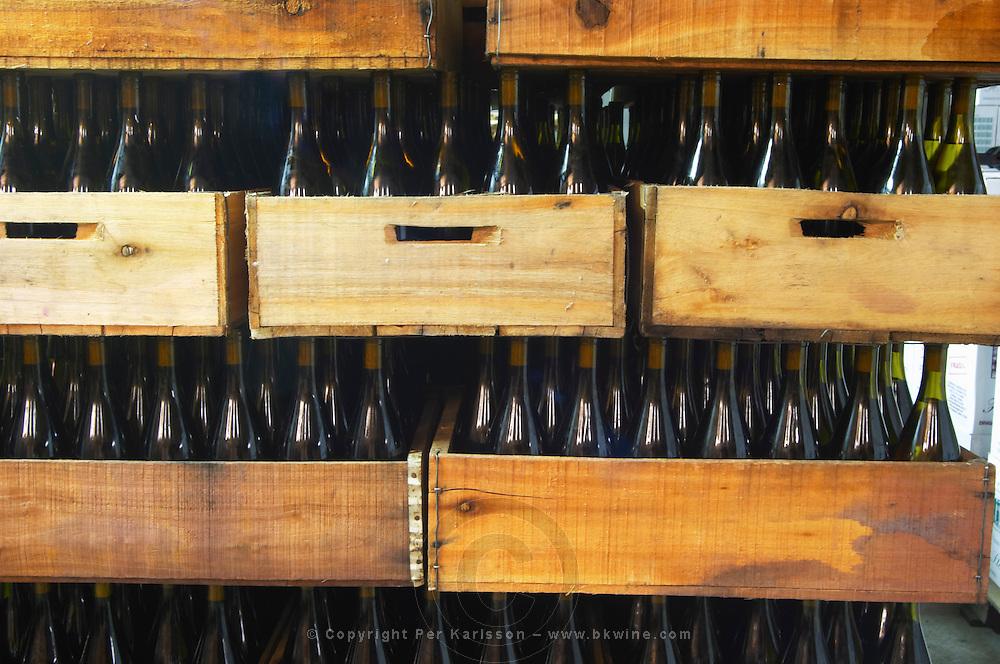 The winery with bottles in wooden crates Bodega Vinos Finos H Stagnari Winery, La Puebla, La Paz, Canelones, Montevideo, Uruguay, South America