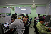 inside an Indian call-centre office,