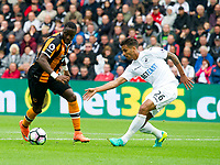 Football - 2016 / 2017 Premier League - Swansea City vs. Hull City<br /> <br /> Adama Diomande of Hull City attacks-- at the Liberty Stadium.<br /> <br /> COLORSPORT/WINSTON BYNORTH
