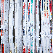Rhime covered skis mounted to the wall of Corbet's Cabin at the top of Jackson Hole Mountain Resort, Wyoming.