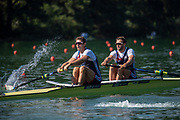 """Lucerne, SWITZERLAND, 12th July 2018, Friday, GBR2, M2-, Bow, """"Morgan HELLEN"""" and """"Callum MCBRIERTY"""", moving away, from the start Area, FISA World Cup series, No.3, Lake Rotsee, Lucerne, © Peter SPURRIER,"""