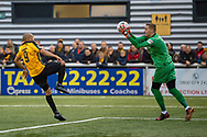 Oldham Athletic goalkeeper Daniel Iversen (1) saves a shot from Maidstone United forward Elliott Romain (9) during the The FA Cup match between Maidstone United and Oldham Athletic at the Gallagher Stadium, Maidstone, United Kingdom on 1 December 2018. Photo by Martin Cole