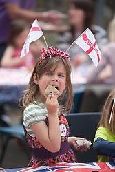 © London News Pictures. MAIDSTONE, UK 28/04/2011.The Royal Wedding of HRH Prince William to Kate Middleton. Preparations have started as the bunting comes out at The Swan pub in Wolletts Street, Maidstone, Kent. Maidstone is Britain's most patriotic borough with more street parties planned to celebrate the wedding of Prince William and Kate Middleton than anywhere else in the country. Up to 22 licences in Maidstone alone. Picture credit should read Manu Palomeque/LNP