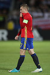 Spain's Gerard Deulofeu shoes his dejection after the game