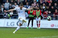 Gylfi Sigurdsson of Swansea city takes a free-kick. Premier league match, Swansea city v Middlesbrough at the Liberty Stadium in Swansea, South Wales on Sunday 2nd April 2017.<br /> pic by Andrew Orchard, Andrew Orchard sports photography.