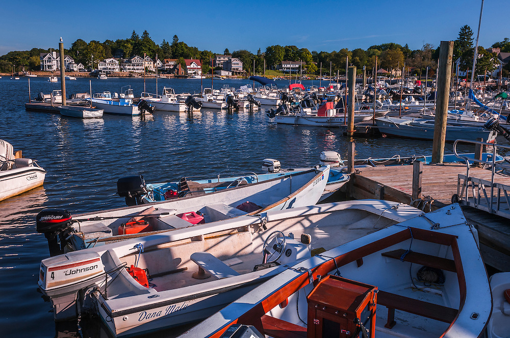 Boats docked at Stony Creek, views to homes on shoreline in distance, Branfrord, CT