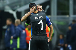 November 13, 2017 - Milan, Italy - FIFA World Cup Qualifiers play-off Switzerland v Northern Ireland.The disappointment of Gianluigi Buffon and Leonardo Bonucci of Italy at the end of the match at San Siro Stadium in Milan, Italy on November 13, 2017. (Credit Image: © Matteo Ciambelli/NurPhoto via ZUMA Press)