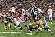 Arizona Cardinals running back Marcel Shipp (31) rushes past St. Louis Fakhir Brown (34) for a fourth quarter touchdown at the Edward Jones Dome in St. Louis, Missouri, December 3, 2006.  The Cardinals beat the Rams 34-20.<br />