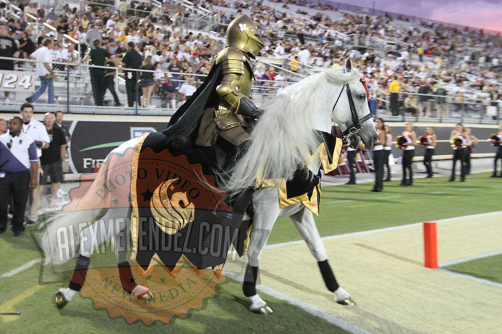 The UCF mascot during an NCAA football game between the Boston College Eagles and the UCF Knights at Bright House Networks Stadium on Saturday, September 10, 2011 in Orlando, Florida. (AP Photo/Alex Menendez)