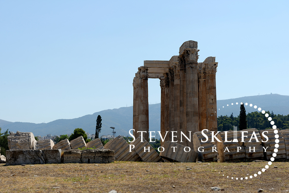 Athens. Greece. View of the massive remains Temple of Olympian Zeus (Olympieion), the largest temple in Greece which took nearly 700 years to complete.