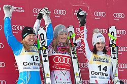 21.01.2011, Tofana, Cortina d Ampezzo, ITA, FIS World Cup Ski Alpin, Lady, Cortina, SuperG, im Bild Podium, v.l. Anja Paerson (SWE, #12, Platz 2), Lindsey Vonn (USA, #20, Platz 1) und Anna Fenninger (AUT, #14, Platz 3) // Anja Paerson (SWE, place 2), Lindsey Vonn (USA, place 1) and Anna Fenninger (AUT, place 3) during FIS Ski Worldcup ladies SuperG at pista Tofana in Cortina d Ampezzo, Italy on 21/1/2011. EXPA Pictures © 2011, PhotoCredit: EXPA/ J. Groder