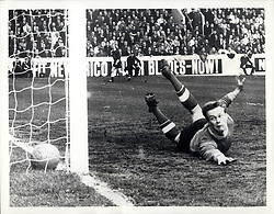 1969 - Nottingham Forest V Spurs Hillsborough Sheffield F.A., Cup Semi-Final Spurs Won 2-1: Photo Shows Anguish on the faces of Nottingham Forest goalie, Grummett who dives in vain to save a shot from Jimmy Greaves (not in picture) to put his aide one up in the semi-final of the F.A. Cup. (Credit Image: © Keystone Pictures USA/ZUMAPRESS.com)