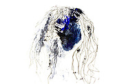 modern abstract Acrylic and ink drawing Tired woman face with messy hair.