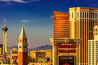 Skyline of Las Vegas, Nevada USA; featuring the Venetian, Stratosphere, Wynn and Caesar's Palace.