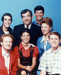 April 22, 2107 - FILE PHOTO - Popular actress ERIN MORAN, a mainstay on TV from the late '60s to the mid-'80s and best known for her kid-sister role in the sitcom 'Happy Days,' has died. She was 56. Authorities in Indiana found her body Saturday afternoon after getting a 911 call at 4:07 p.m. for 'an unresponsive female.' First responders found her DOA. Pictured: June 15, 1979 - No Merchandising. Editorial Use Only. No Book Cover Usage.....Donny Most, Henry Winkler, Erin Moran, Tom Bosley, Anson Williams, Marion Ross, Ron Howard..Happy Days - 1974-1984..Henderson/Miller-Milkis/Paramount..TV Portrait. (Credit Image: © Paramount TV via ZUMA Press)