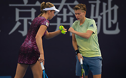 October 5, 2018 - Elise Mertens of Belgium & Demi Schuurs of the Netherlands playing doubles at the 2018 China Open WTA Premier Mandatory tennis tournament (Credit Image: © AFP7 via ZUMA Wire)
