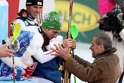 06.01.2013, Crveni Spust, Zagreb, CRO, FIS Ski Alpin Weltcup, Slalom, Herren, Podium, im Bild Buergermeister von Zagreb Milan Bandic kroent den sieger Marcel Hirscher (AUT) // Zagreb Mayor Milan Bandic crowned winner Marcel Hirscher of Austria on podium of the mens Slalom of the FIS ski alpine world cup at Crveni Spust course in Zagreb, Croatia on 2013/01/06. EXPA Pictures © 2013, PhotoCredit: EXPA/ Pixsell/ Zeljko Lukunic..***** ATTENTION - for AUT, SLO, SUI, ITA, FRA only *****
